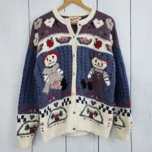 WOOLRICH Med VINTAGE Raggedy Ann & Andy Sweater